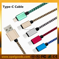 Hot Metal Plug Braided charging Data Type-C USB Cable