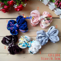China factory direct color pattern hair accossry chiffon bow