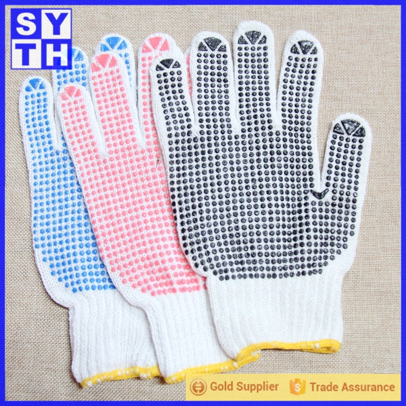 Cotton garden gloves with red rubber dots with customers LOGO