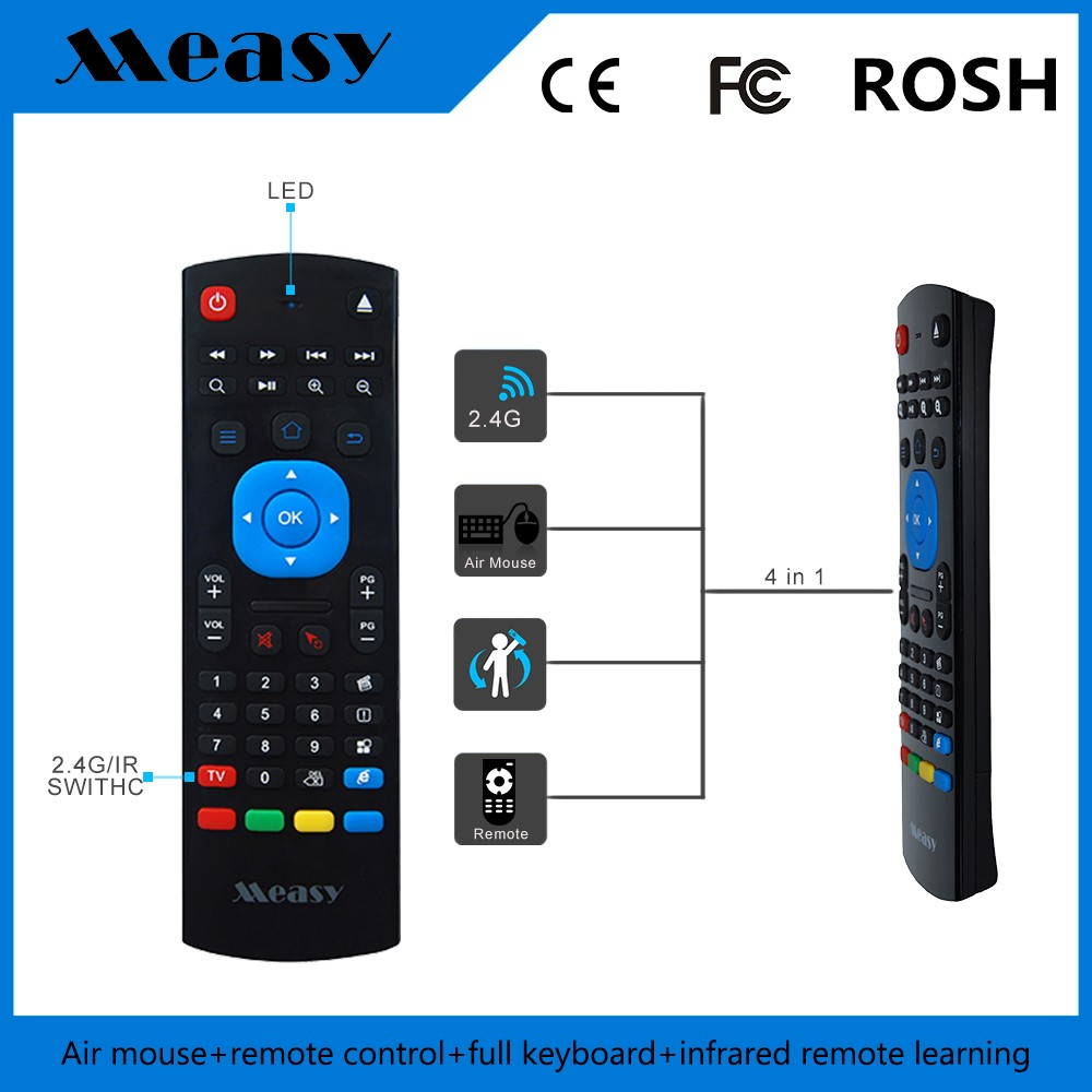 Measy Air Mouse, 2.4G Fly Mouse Mini Wireless Keyboard Mouse Air Infrared Remote Learning For Android Smart TV Box G Box