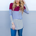 Long sleeve color block chest pocket striped women's t-shirts