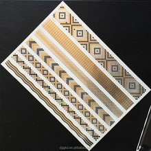 custom body temporary metallic gold flash tattoos