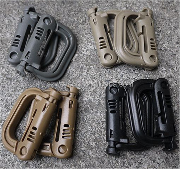 Molle Tactical Backpack EDC Shackle Carabiner Snap D-Ring Clip KeyRing Locking