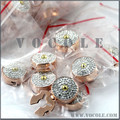 Full White Crystal Zircons Rose Gold Round Button Cover