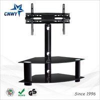 conference room triangle tempered glass lcd tv stand with mount