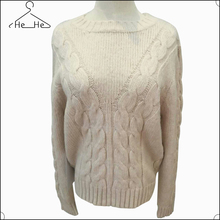 Hehe Custom latest design winter ladies white round sweater lady Knitting sweaters top