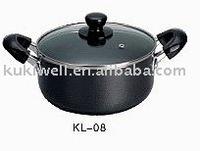bakelite soft touch handle black non-stick dutch oven