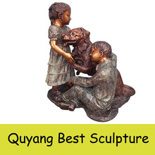 Lovely Bronze Little Girl with Dog Statue Sculpture