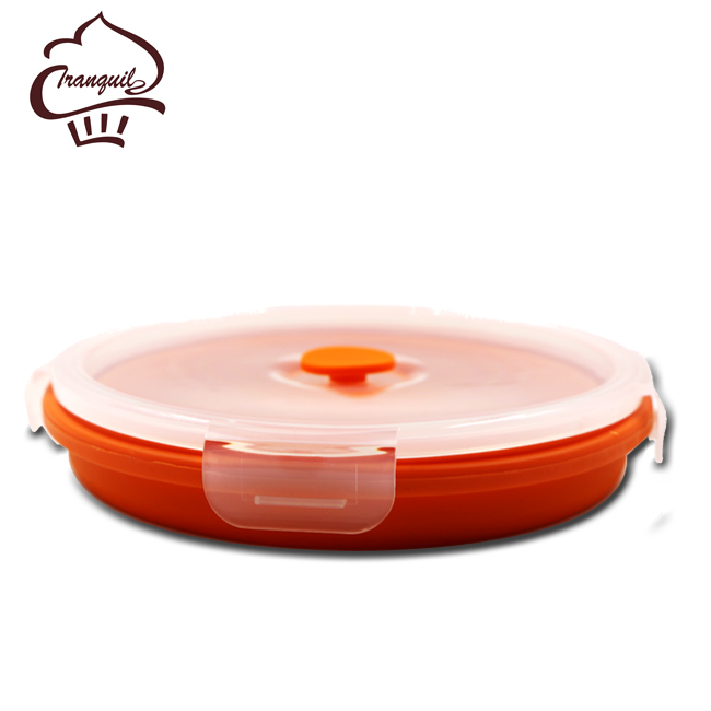 LOW MOQ Collapsible Silicone Container Children/Adult Lunch Box,<strong>Orange</strong>,BAP Free,Collapsible Box