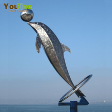 Outdoor Modern Design Stainless Steel Dolphin Sculpture For Sale