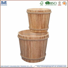 2016 new arrival set of 2 antique burned color wooden bucket
