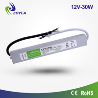 30W 12v 2.5a China factory price waterproof IP67 constant voltage slim led driver