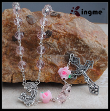 High-end Jewelry 8mm Pink Crystal Beads Rosary, Holy Madana with Child Center Piece Necklace