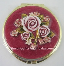 Metal Pocket Mirror w/Rose Flower on top