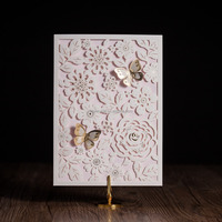 laser cut wedding birthday invitation card with pop up butterfly design CW5192