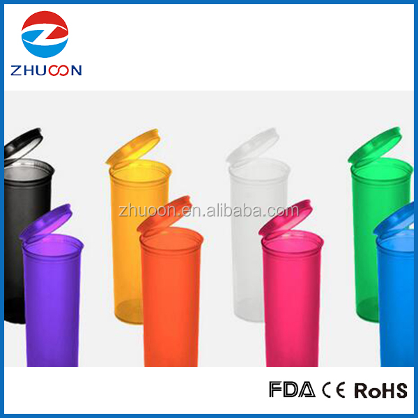 Airtight transparent plastic child resistant vials storage bottles medical weed containers
