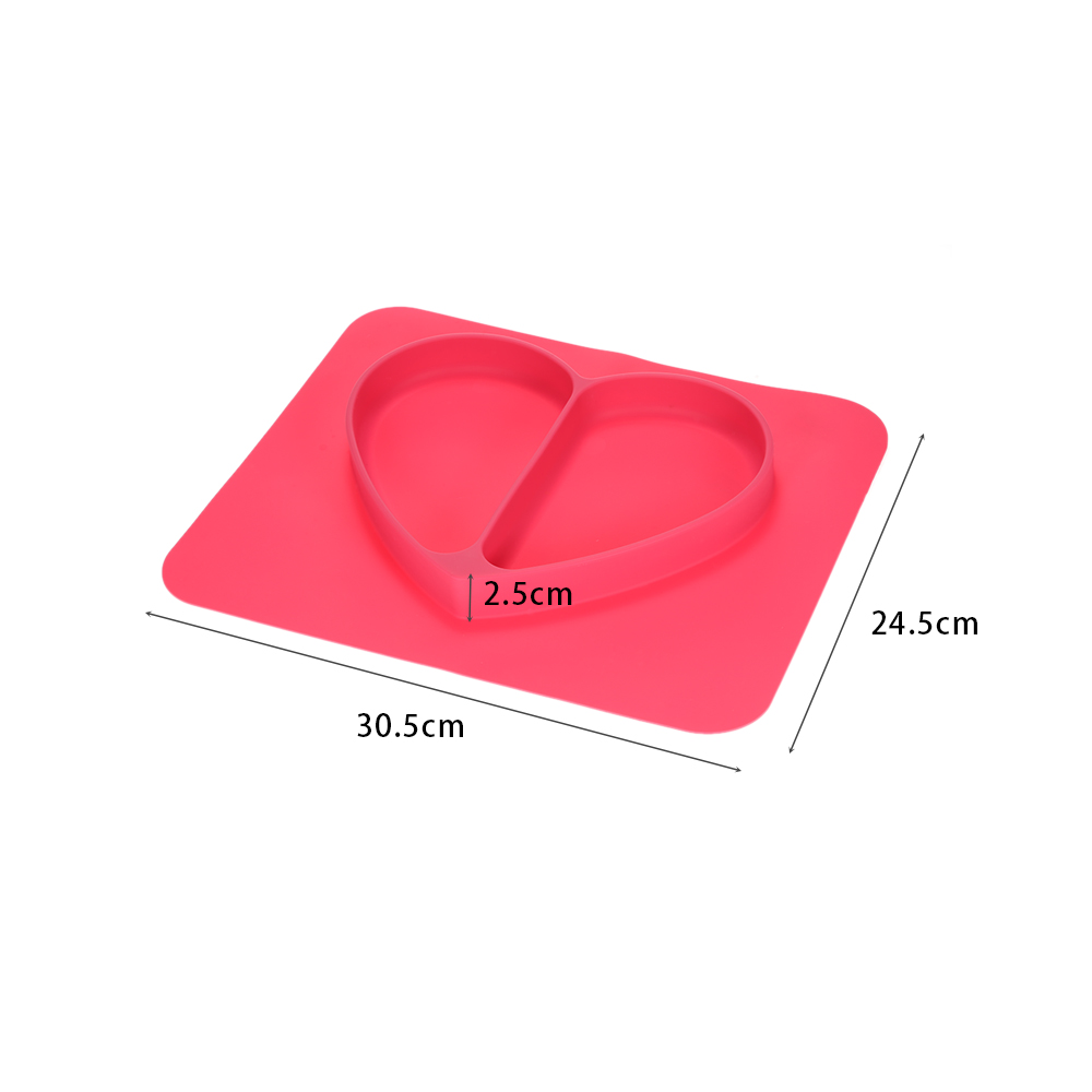 2 in 1 Safe Silicone Tableware Rose Heart Divided Placemat Plate Bowl Tableware for Baby Toddler Kids Dining Table Mat