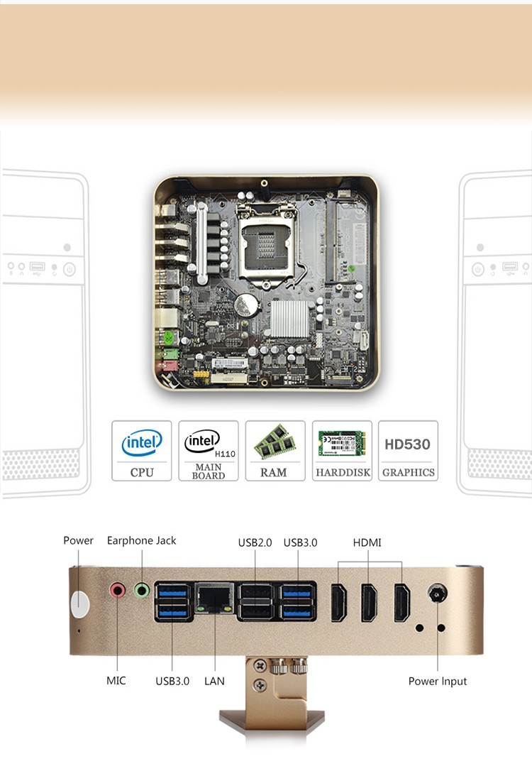 Intel Cherry Trail G4400 Quad Core 3.3GHz Mini PC with 4 USB and 1000M Lan