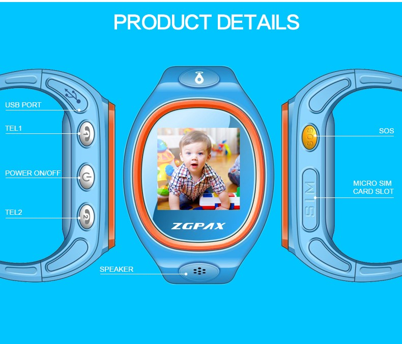 "Factory Suppy Cheap GPS Kids Tracking Smart Watch 1.22"" IPS Display GPS,LBS Positioning SOS Call Voice Chat Model S866"