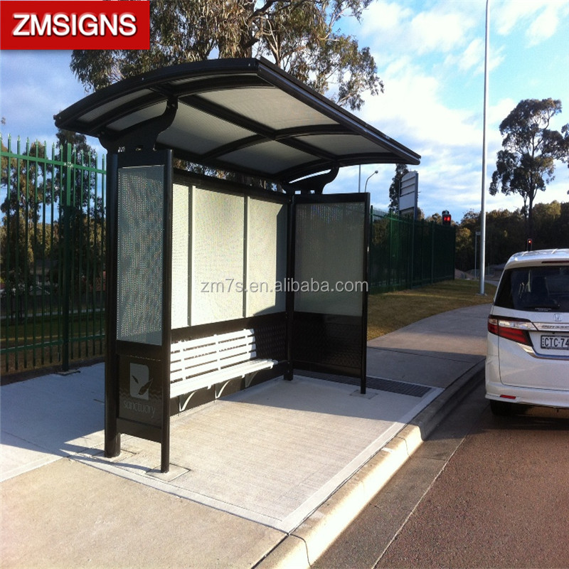 solar power light box bus stop shelter
