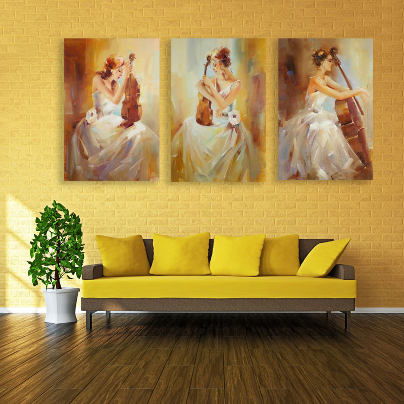 Abstract White Dress Sex Girl 3d Playing Violin Still Life Oil ...