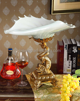 Ichthyosaur Shape Home Decorative Tray, Royal Brass with Crystal Art Tray (BF01-0205-1)