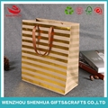 Metal bronze Gold / Silver foil hot stamping embossing logo ribbon handle shopping paper bag