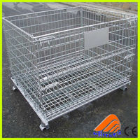 nanjing supplier designed basket with wheels,welded wire mesh dog cage,wired baskets
