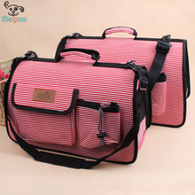 Fashion Striped Breathable Mesh Walking Dog Travel Carrier Canvas Pet Bag With Pocket