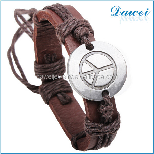 Newest Cheap Personalized Mens Buckler Characters Alloy Anchor Leather Bracelet