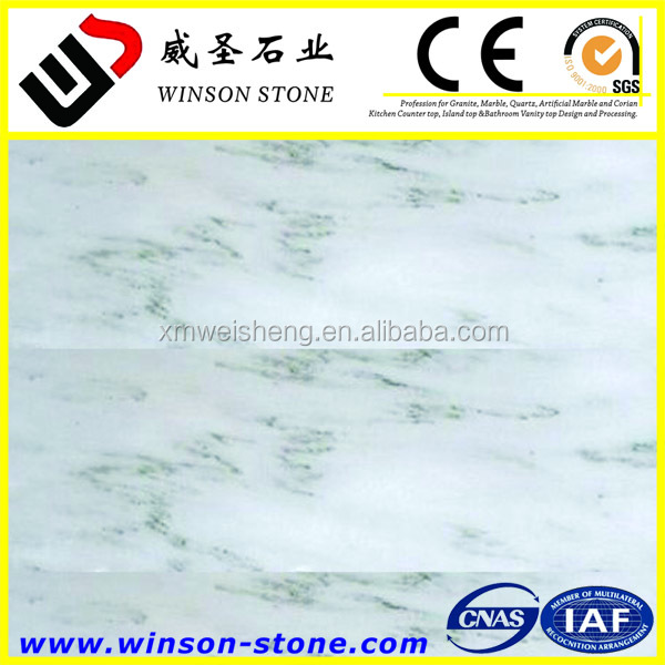 net flower white WangHua marble with green veins for top vanity cabinet designs