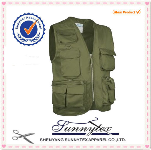 China made Hot selling multi functional pockets blue fishing vest
