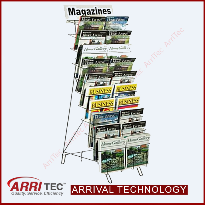 curve shape single side wire pocket display shelf floor standing vedio magzine book stand brouchure display rack