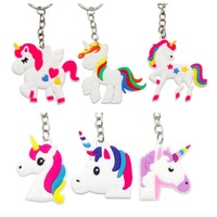 Hot Sale In Amazon Promotion Cheap Creative Cartoon Souvenir Colorful Soft Silicon Unicorn Keychain