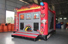 Custom inflatable fire station moonwalk bounce house jumper for kids,Inflatable bouncing jumper kids fun party house,