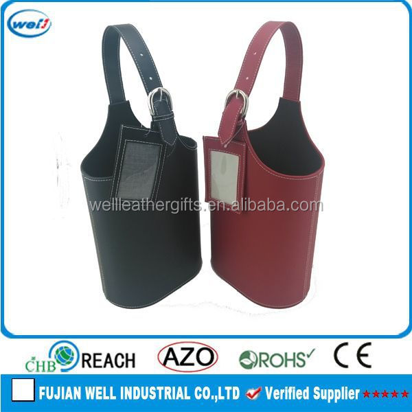 Eco-friendly PU leather wine carry bottle paper bag manufacturer