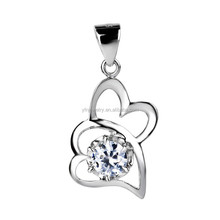 Hot Sale 2015 Charm Fashion 925 Silver Europe and America Jewelry Double Heart Pendant Necklace