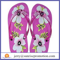 Nice flower printed women nude beach walk slipper