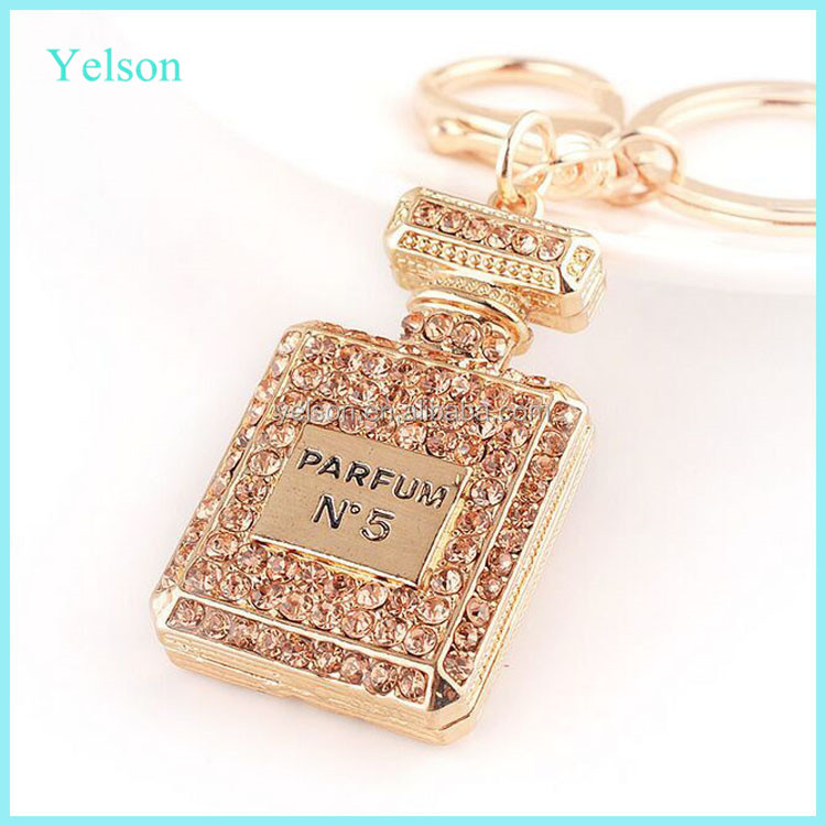 Cute keychains jewelry~wholesale fashion personalized crystal perfume key ring for women