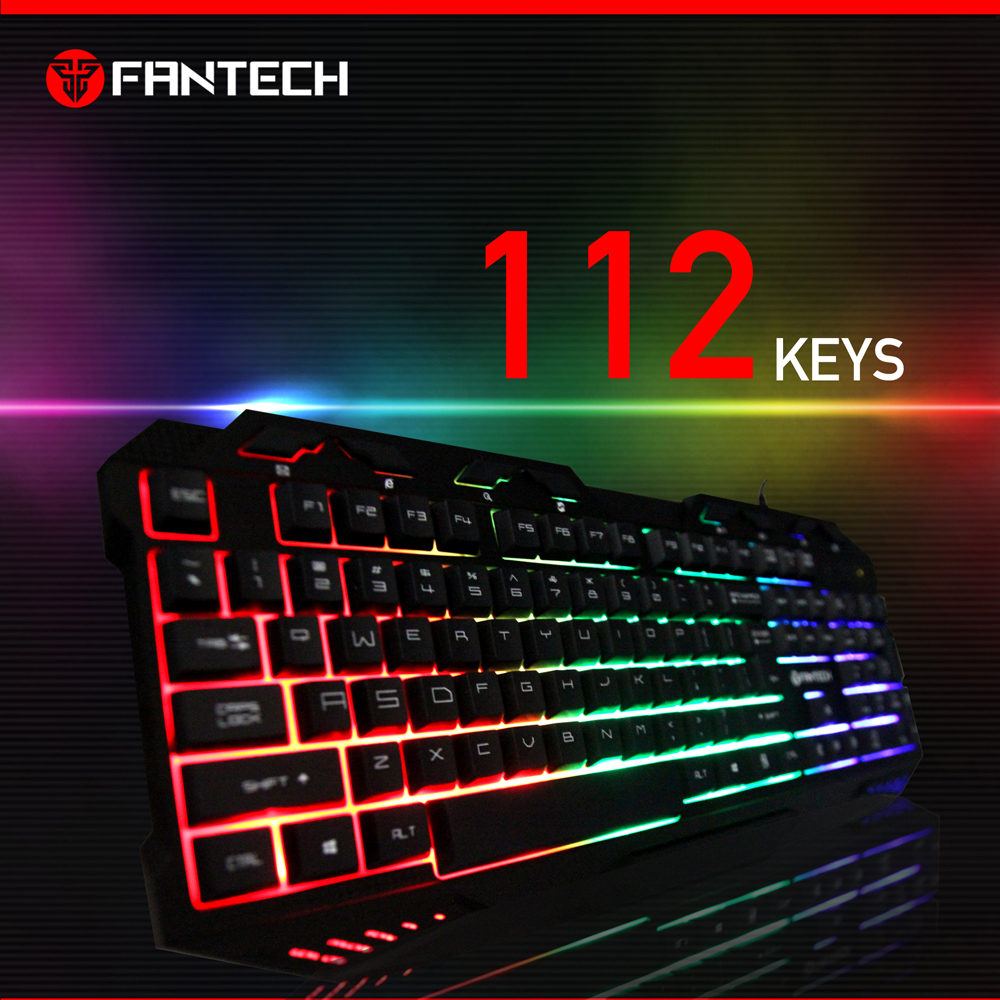 High Quality FANTECH K10 ABS Colorful LED Backlit Wired USB Gaming Keyboard for mechanical Feel Keyboard