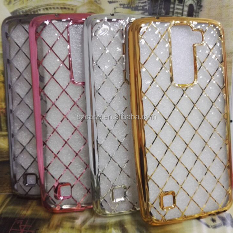 Diamond Grid TPU case for LG K7 Case Soft TPU Electroplating Diamond Grid Case for LG K7