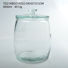 10L clear round glass beverage jar with glass lids