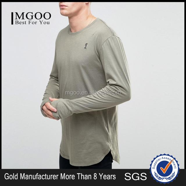 Magoo Autumn long Sleeves 100 Cotton Blank Curved Hem Longline Mens T-Shirt Manufacturer