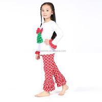 Boutique Girl Outfit Christmas Red and GreenTree Tiered Top and Quatrefoil Ruffle Pants Set
