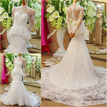 2015 popular design real sample arabic long sleeve high neck lace mermaid wedding dress #OW508