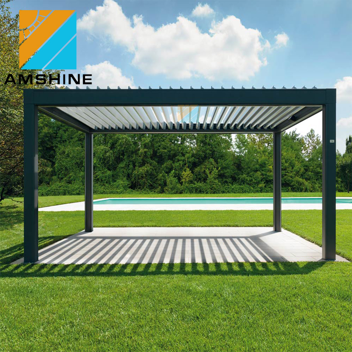 Aluminum patio roof openning electric motorized louver roof