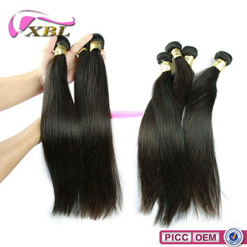 XBL wholesale price 6a cheap unproessed virgin hair, Brazilian silky straight hair weave