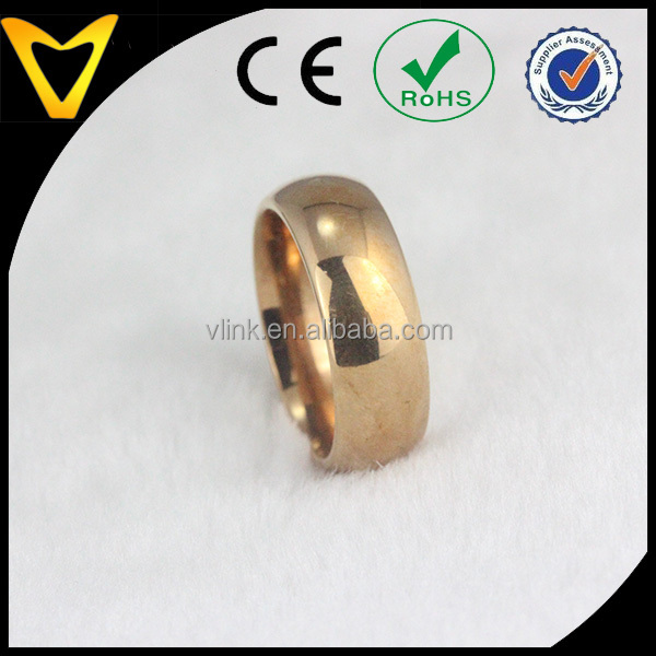 Trendy dome finish golden tungsten wedding band for men tungsten 18k gold plated basic cheap gold ring