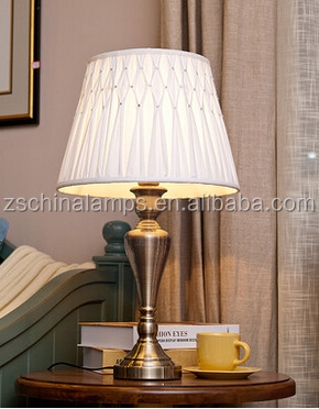 2016 hot sale antique wrought iron table lamp with polish lamp stand and white barrel pleated fabric lamp shade for home decor