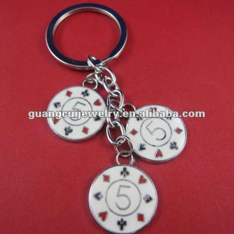 fashion zinc alloy hot round Poker keychain as promotion for gamble